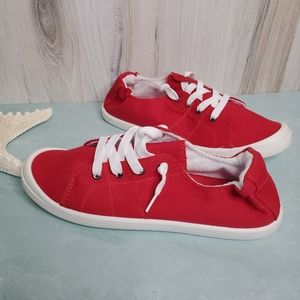 New! Red Lace Up Sneaker